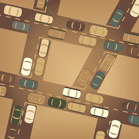 gridlock: Editable  illustration of busy car traffic Illustration