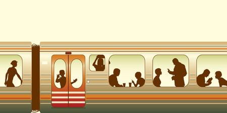 passenger vehicle: Ilustraci�n editable de pasajeros de un tren