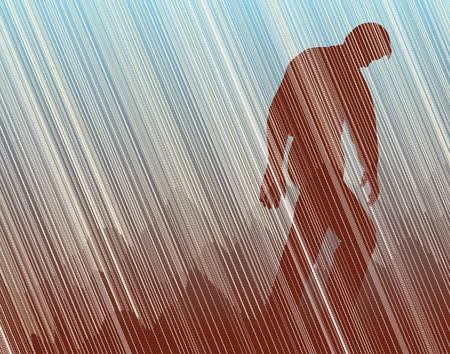 torrential rain: Editable  illustration of a man walking in torrential rain