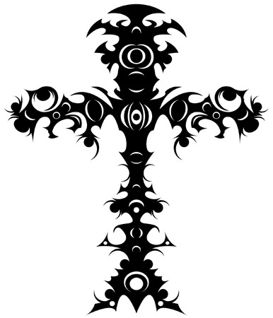 Editable  illustration of an ornate tribal cross tattoo Vector