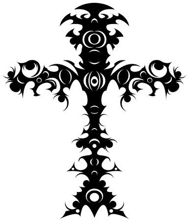 celtic cross: Editable  illustration of an ornate tribal cross tattoo