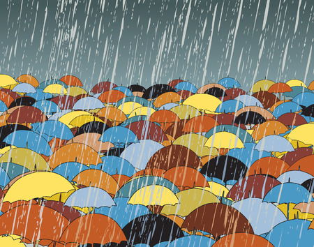 torrential rain:   illustration of colorful umbrellas in rain