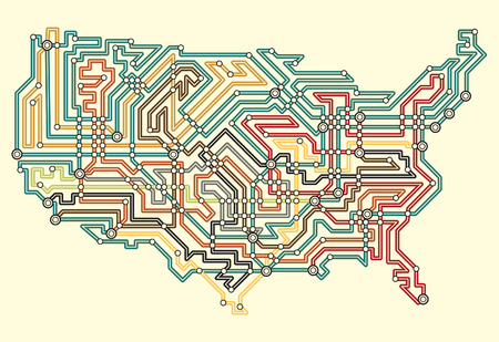 usa map:  illustrated map of the USA in underground map style Illustration