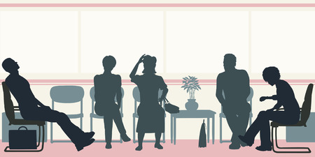 text room:  silhouettes of people sitting in a waiting room Illustration