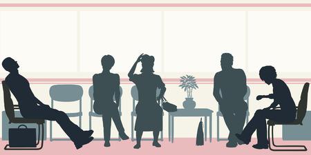 fila de espera: siluetas de personas sentadas en una sala de espera