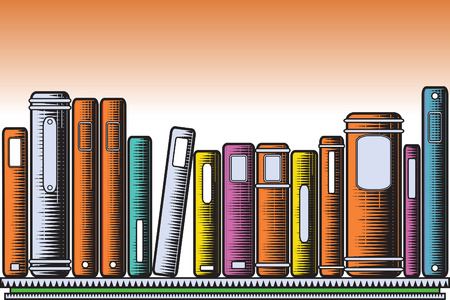 bookcase:   illustration of colorful books on a shelf in woodcut style