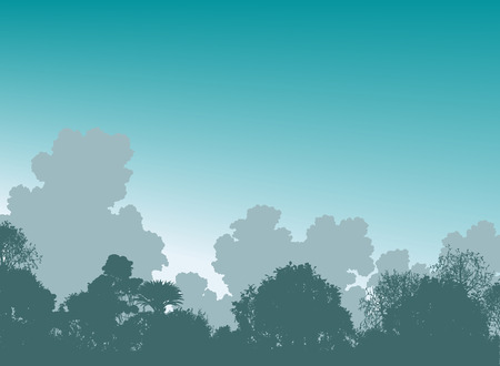 illustration of tree silhouettes and sky Stock Vector - 7909257