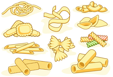 macaroni:    icons of different pasta shapes