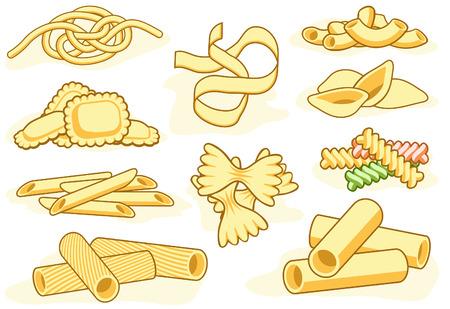 macaroni: pictogrammen van verschillende pasta vormen  Stock Illustratie