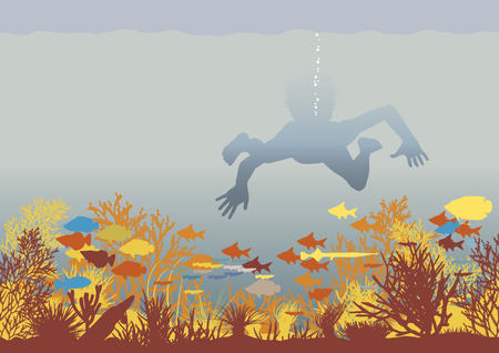 Editable vector illustration of a boy swimming over a colorful coral reef