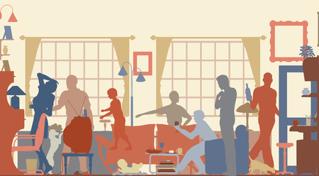 family in living room: Editable vector silhouettes of a family gathering in a living room
