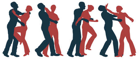 Set of editable vector silhouettes of self defense moves for women Vector