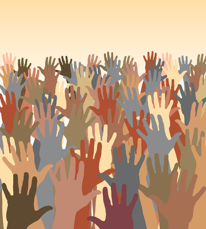 Editable vector illustration of a crowd of waving hands Stock Vector - 8337674