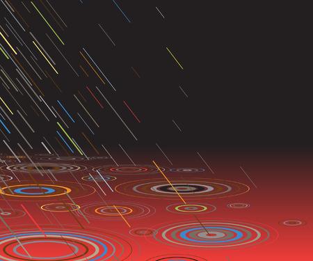 drench: Ilustraci�n vectorial editable de coloridos lluvia caer en agua roja por la noche con espacio de copia
