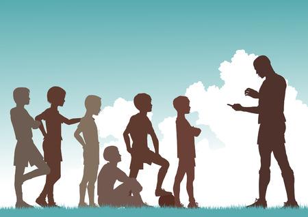 Editable vector silhouette of a man coaching football to children Stock Vector - 8337666