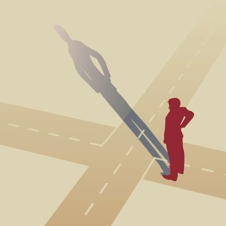 junction:   illustration of a man standing at a crossroads
