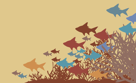shoal:   illustration of fish and coral silhouettes