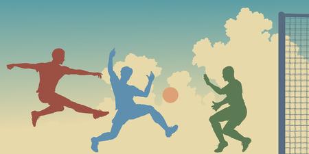football match:  sagome colorati di azione in una partita di calcio