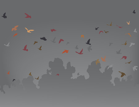 roost:  illustration of a flock of flying birds against a gray sky
