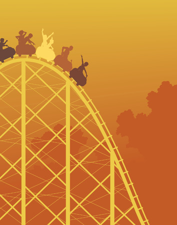 amusement park ride:   colorful silhouette of a steep roller coaster ride Illustration