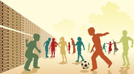 jugando futbol:  Ilustraci�n colorido de los ni�os jugando al f�tbol en un patio de recreo