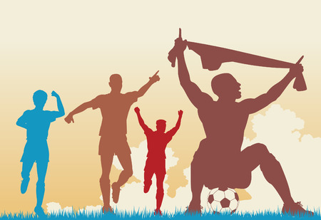 jubilant:  colorful silhouettes of a soccer player celebrating a goal plus team-mates Illustration