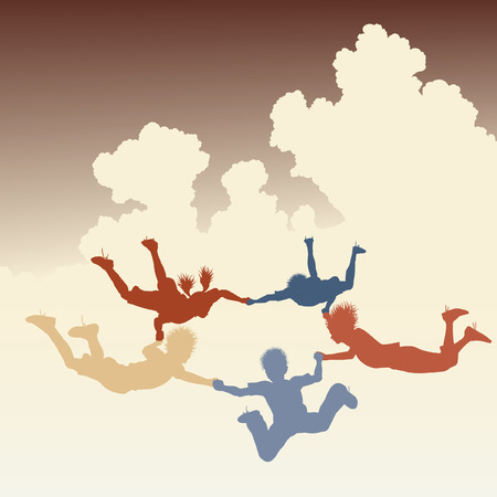 colorful illustration of a ring of skydiving children