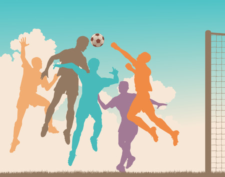 striker: Colorful   silhouette of a footballer heading the ball at goal Illustration
