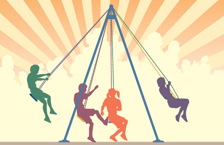 Colorful   silhouettes of children on playground swings with sky background Vector