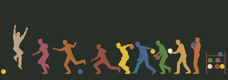 bowling strike: Colorful editable vector silhouette sequence of a man bowling