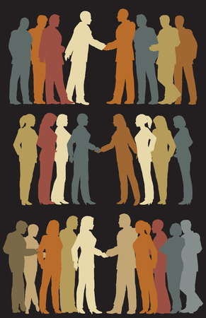 Three sets of colorful editable vector silhouettes of business groups meeting Vector