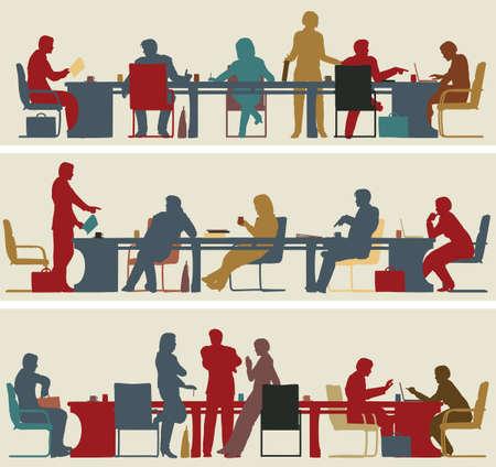 mobiliario de oficina: Conjunto de tres siluetas de primer plano vectorial editable de reuniones de negocios colorido