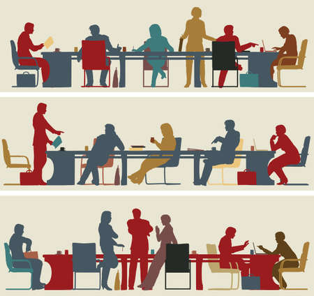 Set of three editable vector foreground silhouettes of colorful business meetings Vector