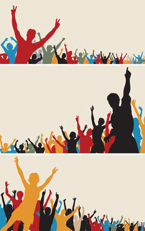 crowd happy people: Set of colorful editable vector crowd silhouettes