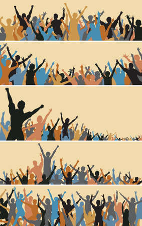 Set of colorful editable vector crowd silhouettes Stock Vector - 8581053