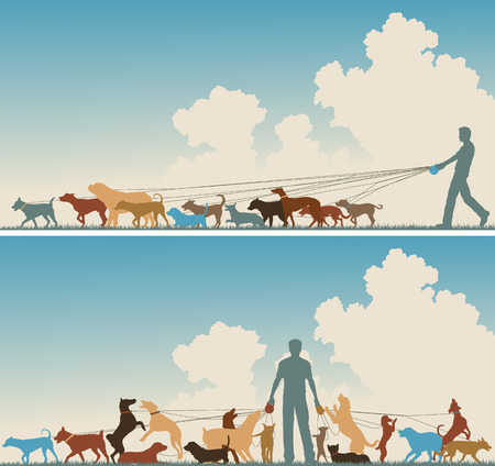 pack animal: Two colorful foreground silhouettes of a man walking many dogs Illustration