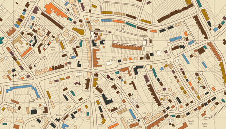 Colorful editable illustrated map of housing in a generic town Ilustração