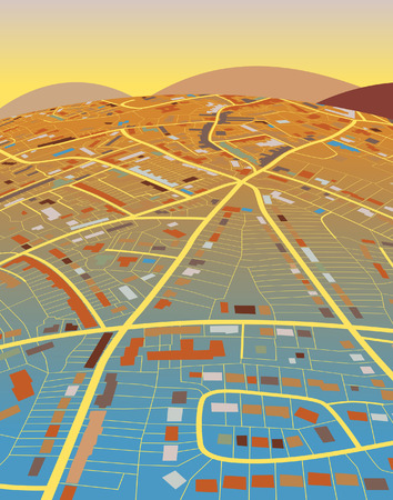 generic: Colorful editable illustration of a generic street map and landscape Illustration