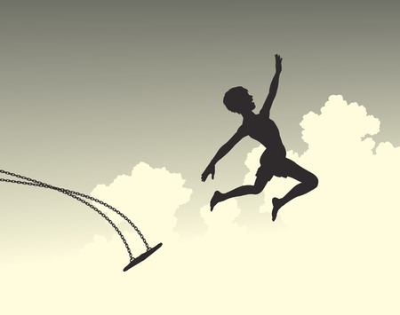 Editable silhouette of a young boy leaping off a swing Vector
