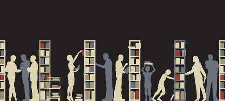 in library: Editable silhouette of people in a library