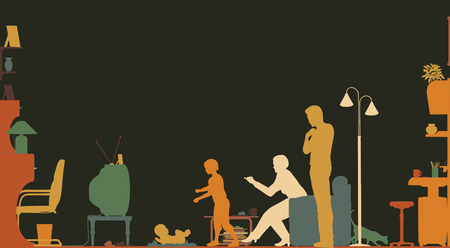 family in living room: Colorful silhouette of a family in a living room