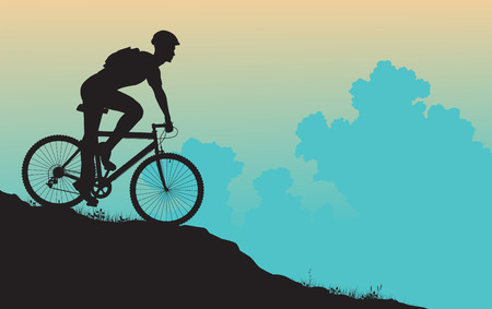 exercise bike: silhouette of a man on a mountain bike Illustration