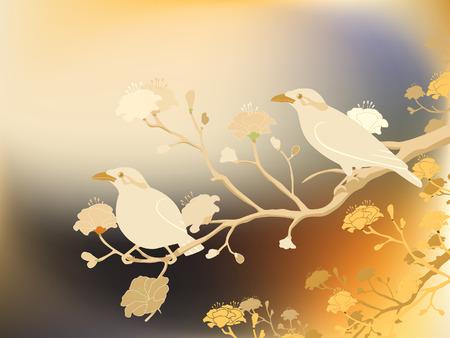 flores exoticas: Ilustración editable de una pareja de aves en peligro de extinción de hill de myna contruida una malla de degradado