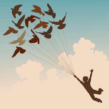 zwerm vogels: silhouet van een jongen gedragen door flying duiven Stock Illustratie