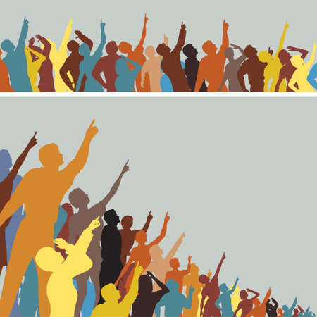 looking: Two colorful editable silhouettes of crowds pointing and looking upwards Illustration