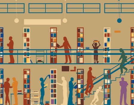 library book: Editable silhouette of colorful people in a library