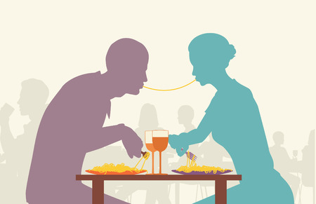 intimate: Colorful editable silhouette of lovers eating spaghetti together in a restaurant