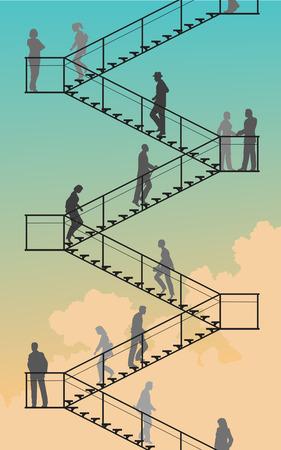 schody: Edytowalne silhouettes ludzi wędrówki w górę i w dół lotów schodów z nieba tła Ilustracja