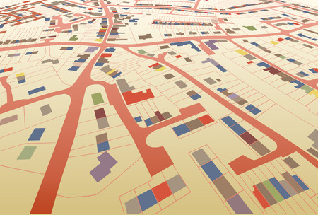 topography: Angled view of a colorful editable housing map in a generic town
