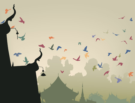 flock of birds: illustration of colorful pigeons flying to a Buddhist temple roof Illustration